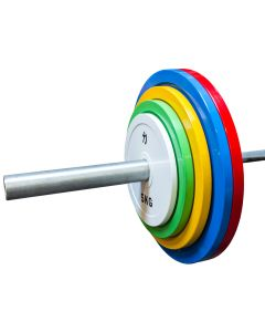 150kg Olympic Extra Thin Competition Style Steel Plate Set - Coloured