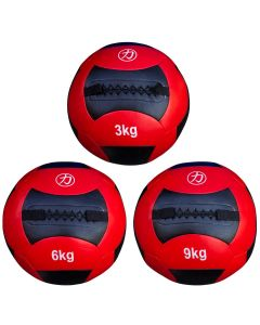 Medicine/Wall Ball Set  - 3kg, 6kg, 9kg - Red/Black