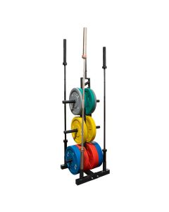 Deluxe Rubber Bumper Plate Olympic Weight Tree/Bar Holder