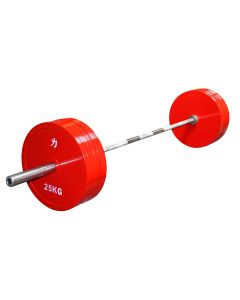 Set of 8 x 25kg Olympic Extra Thin Competition Style Steel Plate - Red