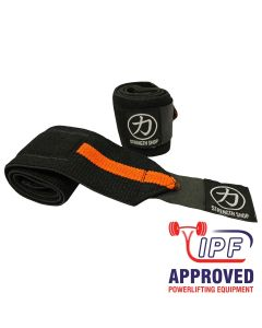 Strength Shop Zeus Wrist Wraps - Orange / Black - IPF APPROVED